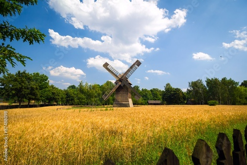 Obrazy Polska agricultural-summer-landscape-with-old-windmill