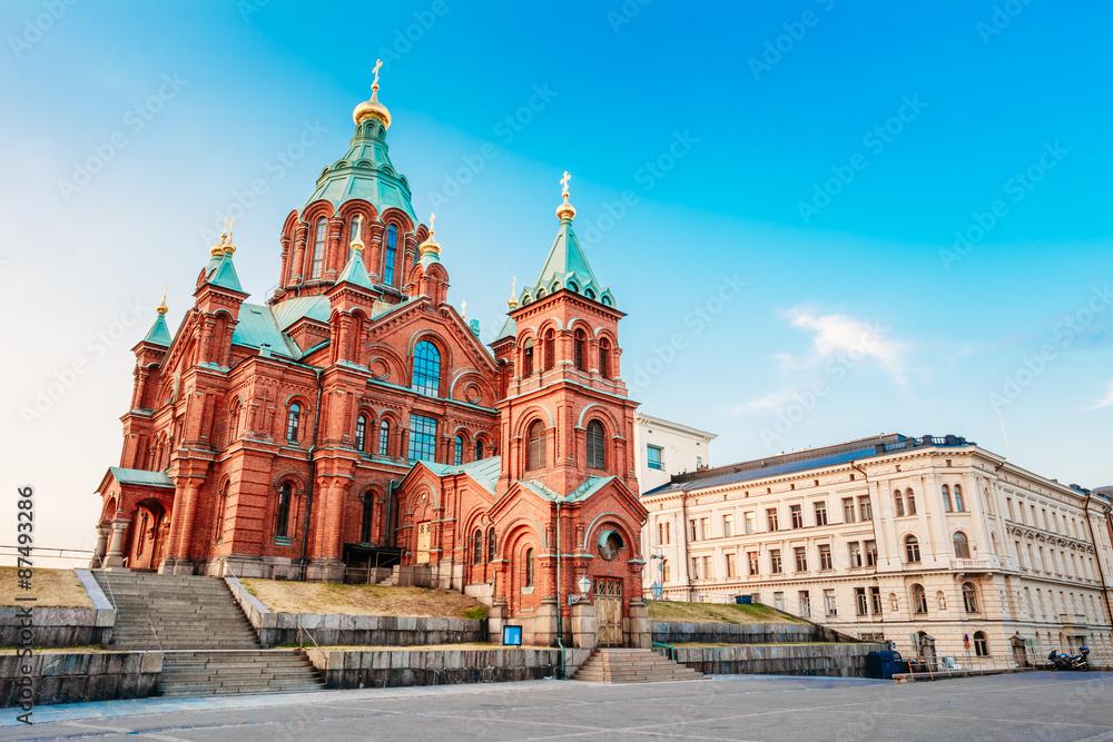 Fototapety, obrazy: Uspenski Cathedral, Helsinki At Summer Sunny Day. Red Church