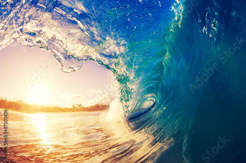 Door stickers Water Sunrise Wave