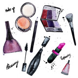 Vector watercolor set of Glamorous make up set of  cosmetics