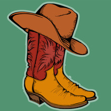 Cowboy Boots And Hat.Vector Color Illustration Isolated For Desi