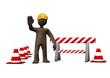 Braunes Männchen als Bauarbeiter auf einer Baustelle, 3D-Illustration