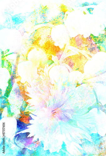 Beautiful miscellaneous flower, Watercolor painting, pc collage - 87517606