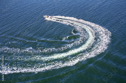 Powerboat trace on sea
