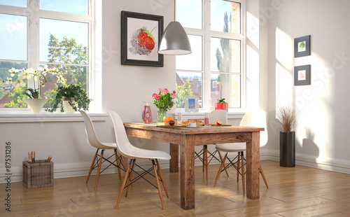 Obraz Esszimmer mit einem gedeckten Frühstückstisch - fototapety do salonu
