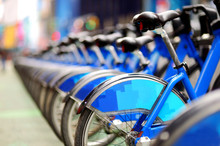 Row Of City Bikes For Rent At ...