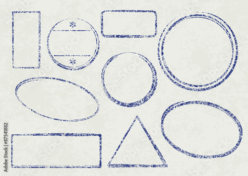set of nine grunge vector templates for rubber stamps on old pap