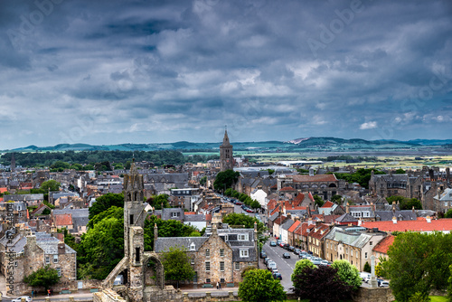 St Andrews city view from cathedral tower. Scotland Canvas Print
