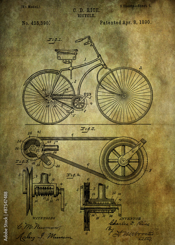 Bicycle patent from 1890 Wallpaper Mural