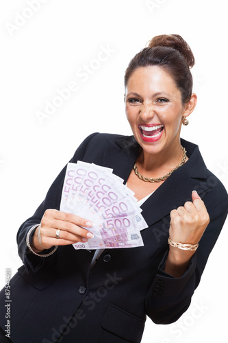 Foto  Happy Businesswoman Holding 500 Euro Banknotes