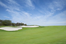 Green Golf Fairway With Sand T...