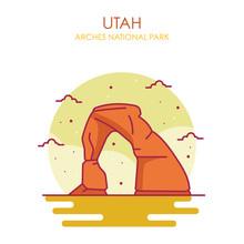 Arches National Park Vector Illustration, Utah US