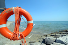 Jackets With Rope To Rescue Swimmers In The Sea In Summer