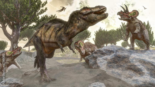 Photo  Tyrannosaurus rex escaping from triceratops attack - 3D render