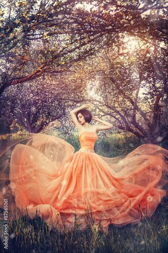 Fototapety, obrazy: asian girl model in  sakura  garden