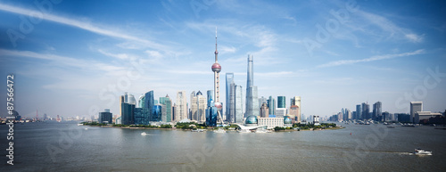 Poster Shanghai panoramic skyline of shanghai and landmarks