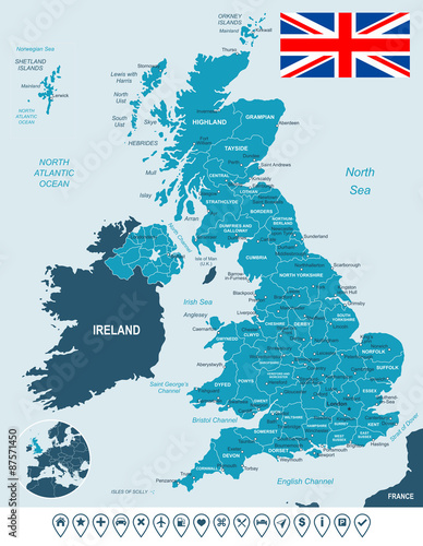 Fotografía United Kingdom map, flag and navigation labels - highly detailed vector illustration