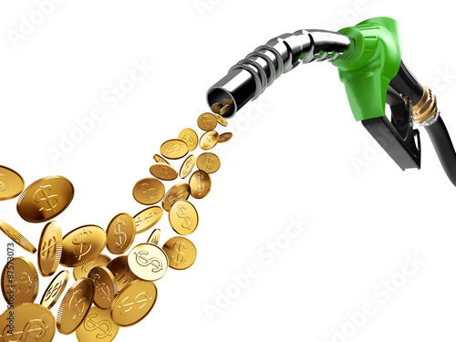 Fotografie, Obraz  Gasoline pump and gold coin with dollar sign