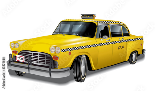 Yellow cab, new york retro taxi, eps10 фототапет