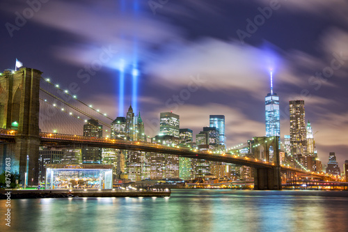 Manhattan skyline with Brooklyn Bridge and the Towers of Lights in New York - 87578613