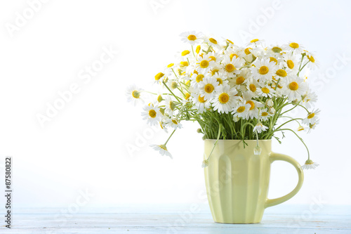 Foto op Canvas Madeliefjes Beautiful bouquet of daisies in cup on light background