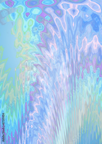 Fotografie, Obraz  Shiny light background with a light green and  violet zigzag divergent waves and