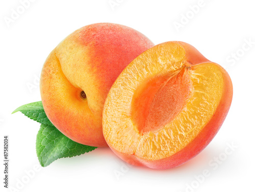 Apricots over white background