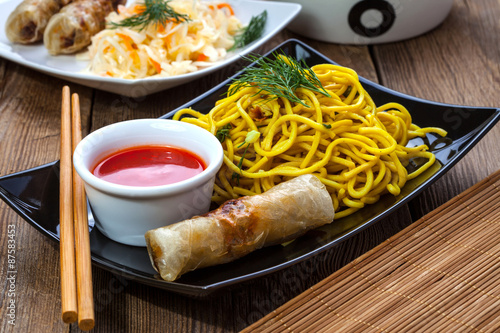 Fried Chinese Spring rolls Wallpaper Mural