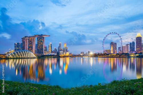Tuinposter Singapore Marina Bay in Singapore at twilight