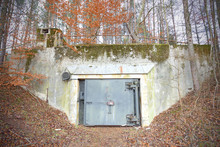Cold War Soviet Union Nuclear Military Bunker In Forest, Podborsko, Poland.