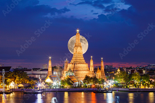 Wat Arun Temple in night with the moon at bangkok thailand. Wallpaper Mural