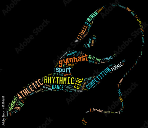 Foto op Aluminium Gymnastiek rhythmic gymnastic pictogram with related wordings on dark backg