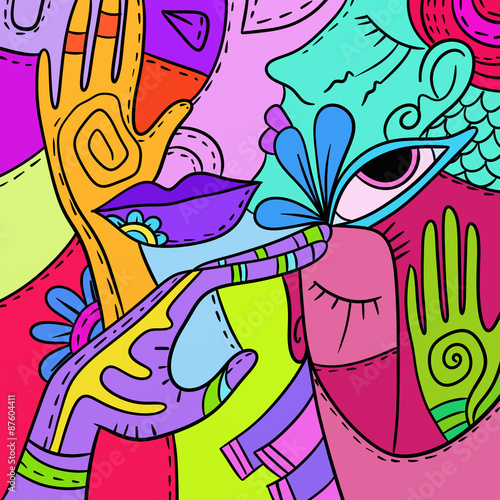 Poster Klassieke abstractie colored abstract with faces and hands