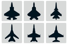 Jet Fighter Plane Set Silhouette