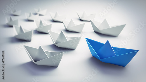 Fotografie, Obraz  Papierschiff-Flotte