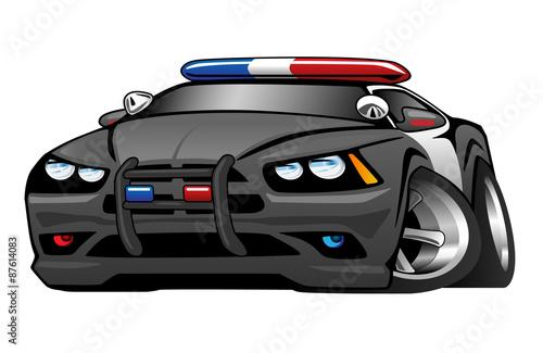 Staande foto Cartoon cars Police Muscle Car Cartoon Vector Illustration
