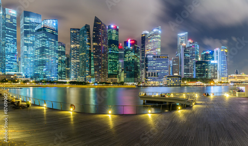 Photo  Landscape of the Singapore financial district and business building