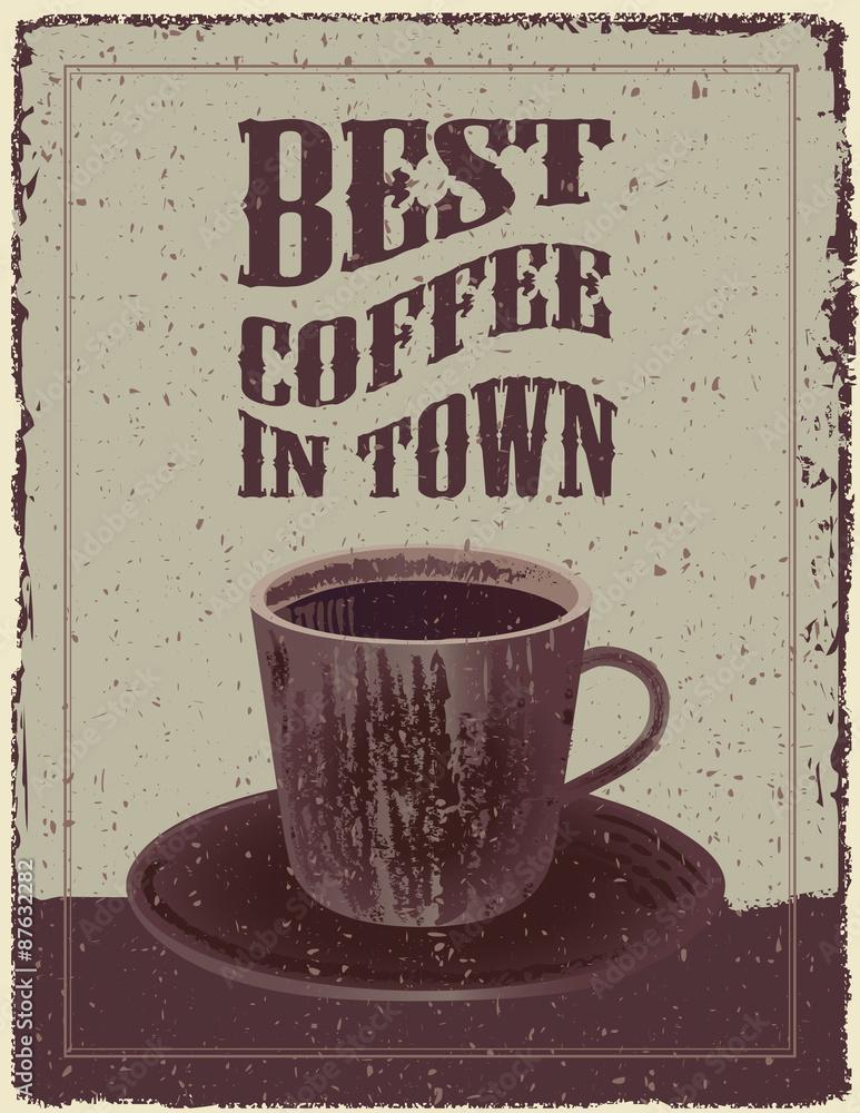 Fotografie, Obraz  Retro Vintage Coffee Plakát
