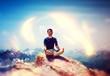 Aura surrounding a meditating climber