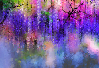 Obraz Abstract Violet color flowers. Watercolor painting. Spring purple flowers Wisteria in blossom with bokeh background