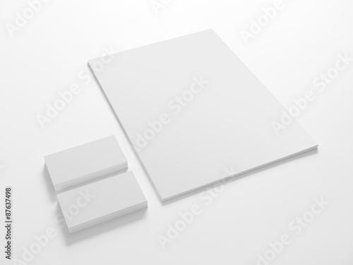 Fototapeta Blank stationery template with business cards. obraz