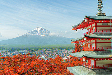 Fototapeta Tokio Mt. Fuji with fall colors in Japan.