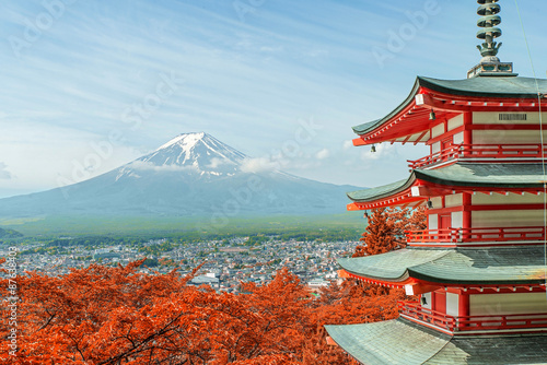 Mt. Fuji with fall colors in Japan. - 87638403