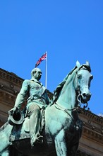 Statue Of Albert Prince Consort In Front Of St Georges Hall, Liverpool.
