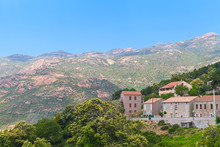 Corsican Landscape, Old Houses And Mountain