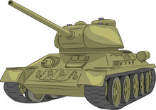 Vector. Middle Tank T-34-85.
