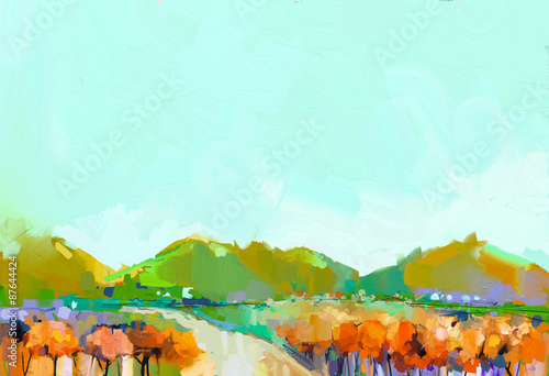 Abstract colorful oil painting landscape on canvas. Semi- abstract image of hill, river and tree in yellow, orange and green with blue sky. Spring season nature background