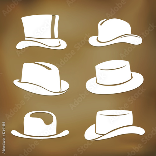 Classic men hat silhouettes Canvas Print