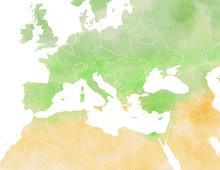 Cartina Illustrata Europa, Mediterraneo, Africa, Medio Oriente