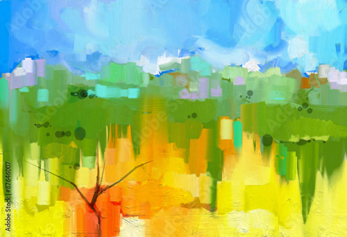 Foto op Aluminium Geel Abstract colorful oil painting landscape on canvas. Semi- abstract image of tree in yellow and green field with blue sky.Spring season nature background